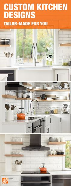 Create an on-trend kitchen that's just as functional as it is beautiful. A sleek and innovative faucet and open shelving give the space a bright and airy feel while built-in storage keeps the space clutter-free. These custom touches allow for kitchenware to be easy-to-reach, but out of sight, and tailor-made just for you. Click to discover inspiring ideas for your home.