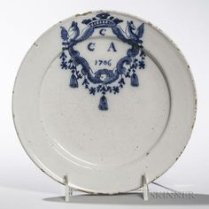 Dated Tin-glazed Earthenware Plate - Price Estimate: $400 - $600