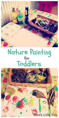 Nature painting for toddlers. Fun way to use up all those treasures collected on a nature walk. Great Forest Childcare activity.