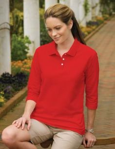 Women's Aurora Pique 3/4 Sleeve Golf Shirt, Color: Red, Size: XX-Large Tri-Mountain. $18.79