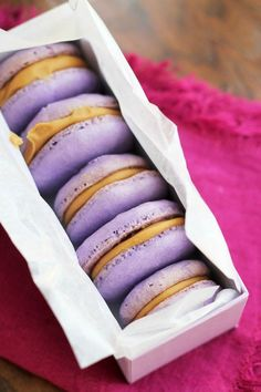 Fancy French pastry meets America's favorite sandwich in these peanut butter and jelly macarons!