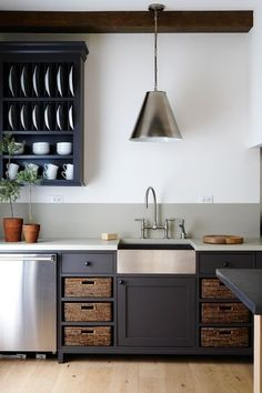 cottage style kitchen with basket storage
