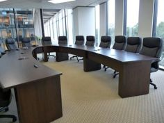 Custom U shape Conference Table Horseshoe Boardroom Table with Power Wood Veneer Office Cabin Design, House Design, Table And Chairs, A Table, Conference Table Design, Used Office Furniture, Multipurpose Room, Office Table, Room Interior