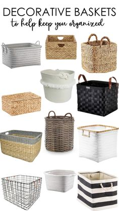 A Collection of Decorative Baskets to Help Keep You Organized! Over 20 options to choose from at a variety of price points. Linen Closet Organization, Home Organisation, Target Organization, Home Decor Items, Diy Home Decor, Organize Life, Diy Rangement, Decorative Baskets, Basket Decoration