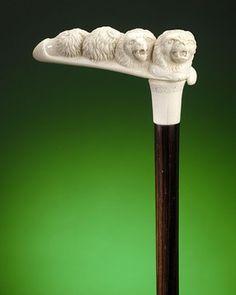 Antique Canes and Walking Sticks, Ivory Canes, Lions ~ M.S. Rau Antiques