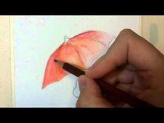 Acquerello: tecnica con matite acquerellabili bimba con ombrello
