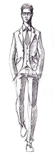 Tailored suit sketch Mario Nobile http://www.delvero.com/blog/blogs/2011/10/04-The-Tailor-The-Designer-and-The-Cloth