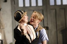 Olivia Colman as Myra Arundel and Freddie Fox as the son, Simon Bliss. In Hay Fever 2012 Photo by Catherine Ashmore