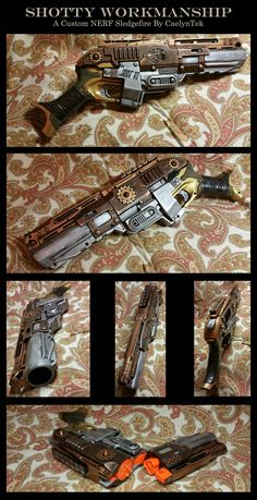 Shotty Workmanship - A Steampunk NERF Sledgefire by CaelynTek.deviantart.com on @DeviantArt