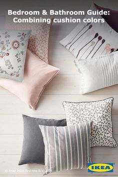 To mix patterns like a pro, choose a color that runs through all of the pillows. For more designer tips to upgrade your space, check out the IKEA Bedroom & Bathroom Guide.