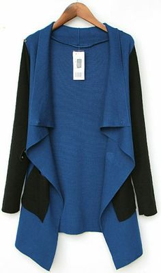Blue Contrast Black Sleeve Asmmetrical Pocket Cardigan