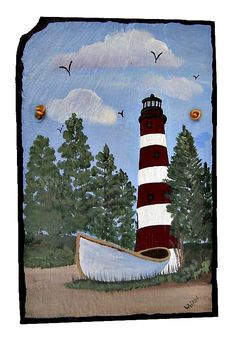 Painted Slate Assateague Island Lighthouse by  #dteam WhatsInGrampasShack, $ 32.00 Painted Slate, Painted Rocks, Slate Shingles, Slate Signs, Lighthouse Painting, Brick Pavers, One Stroke Painting, Paint Party, Stone Painting