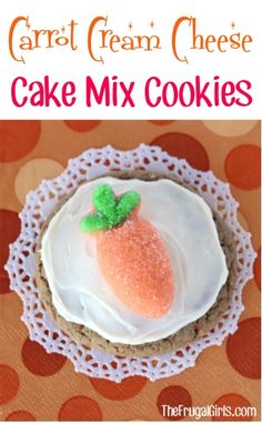Carrot Cream Cheese Cake Mix Cookies Recipe! ~ from TheFrugalGirls.com ~ just a few ingredients and you've got the most delicious, moist cookies! #cookie #recipes #thefrugalgirls