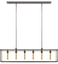 Visual Comfort S5015AI Studio Belden 6 Light 56 inch Aged Iron with Wax Linear Pendant Ceiling Light #lightingnewyork #lny #lighting