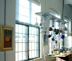Cup hooks in front of window for ornaments (or sun catchers after 12/25) re... Christmas ornament chandeliers