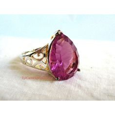 Quartz Statement Ring Rose Color Sterling Silver .925 Faceted Gem Pear... ($35) ❤ liked on Polyvore featuring jewelry, rings, gem stone jewelry, cocktail rings, gemstone cocktail rings, stone rings and pear cut ring