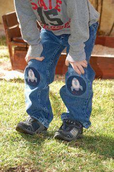Cute Iron-ons to cover up those gapping holes in his jeans!