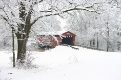 Parker Covered Bridge in winter  View looking north    Photo taken by Brian McKee in January 2005