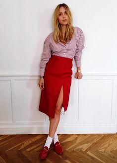 look vermelho saia