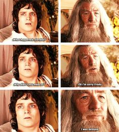 The Lord of the Rings: The Fellowship of the Ring.  Gandalf's eyes say so much at that moment, just amazing.