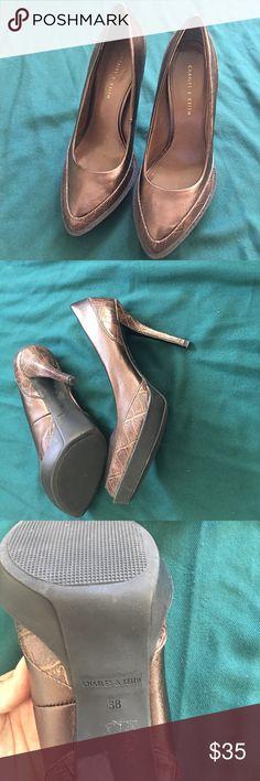 Metallic brown heel Never used charles &keith Shoes Heels