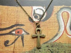 Egyptian ankh necklace - bronze pendant with chain