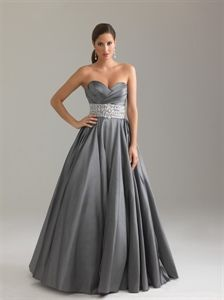 Cheap Charcoal Gray Ball Gown, 2012 Floor Length Pleated Prom Dress