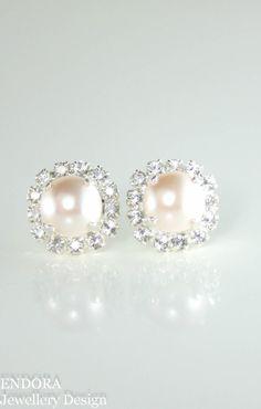 Creamrose pearl earringspearl earringspearl by EndoraJewellery