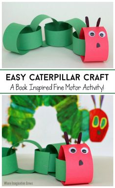 Inspired by our favorite Eric Carle book! Create a caterpillar with this simple fine motor activity for preschoolers! A great craft for spring with kids! Perfect for scissor cutting skills, hand-eye coordination, and other fine motor development. Plus they turn out so cute! Make these paper chain caterpillars with your kids, home daycare children, or preschool students today! #finemotorcraft #finemotor #ericcarle #caterpillarcraft #paperchain #preschool #preschoolathome Spring Crafts For Kids, Projects For Kids, Art For Kids, Craft Projects, Crafts For 3 Year Olds, Paper Crafts For Kids, Kids Arts And Crafts, Easy Crafts, Easy Toddler Crafts