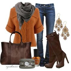 Jeans, sweater, boots, and big earrings.  The watch can bite me because I have only two watches that I like to alternate between, and I'm not dealing with the purse either.