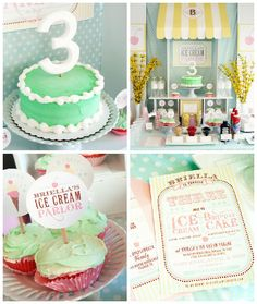 Oh my goodness, we are positively swooning over this ice cream parlor birthday bash! The printables/stationery in it are just darling and we love the simple mint cake and matching cupcakes! This party is too cute and is sure to inspire many ideas! 3rd Birthday Parties, Birthday Bash, Girl Birthday, Birthday Ideas, Kid Parties, Mint Cake, Ice Cream Parlor, Childrens Party, Party Time