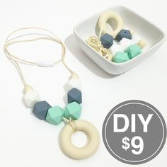 Donut DIY Teething Necklace Kit, Mint Green Gray White Hexagon