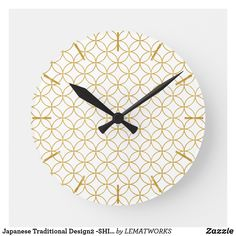 Japanese Traditional Design2 -SHIPPO- White&Gold Round Clock
