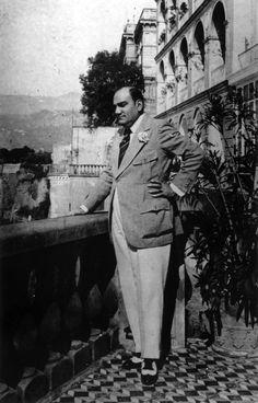Italian opera singer, Enrico Caruso (1873–1921) on a balcony in Naples, circa 1920.