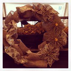Gold Burlap Christmas wreath