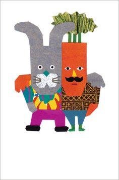 Postcard - Carrot and Bunny buddies - Japanese illustrator tupera tupera (Tatsuya Kameyama x Atsuko Nakagawa)