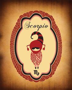 "Scorpio Zodiac Astrological Sign Poster / Print Art ""SCORPIO"" 8x10 Zodiac Sign / Animal Print. $19.00, via Etsy."