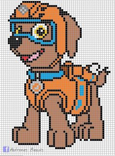 Discover thousands of images about Zuma - PAW Patrol perler pattern - Patrones Beads / Plantillas para Hama Cross Stitch For Kids, Cross Stitch Kits, Cross Stitch Charts, Cross Stitch Designs, Cross Stitch Patterns, Cross Stitching, Cross Stitch Embroidery, Beading Patterns, Embroidery Stitches