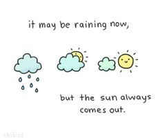 ChiBird Motivational Quotes It maybe raining now, but the sun always comes out. Happy Thoughts, Positive Thoughts, Positive Quotes, Motivational Quotes, Inspirational Quotes, Cute Quotes, Funny Quotes, Kawaii Quotes, Motivation Regime