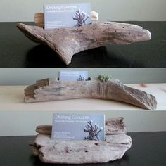 A beautiful and unique way to display your business cards. Featuring two beautifully carved and hand polished driftwood pieces with a groove carved for business cards. Made from driftwood personally. Driftwood Projects, Driftwood Art, Diy Projects, Driftwood Ideas, Business Card Displays, Business Card Holders, Business Cards, Crafts To Make, Diy Crafts