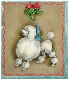 Poodle The Adorable Dog - The Pooch Online Dog Training Methods, Basic Dog Training, Training Your Puppy, Training Dogs, Vintage Greeting Cards, Vintage Christmas Cards, Vintage Holiday, Christmas Greetings, Holiday Cards