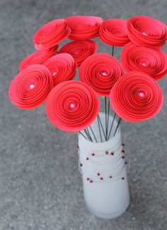 12 Hot Coral Paper Flowers  Wedding Decor  Bridal by Scrappuchino, $16.00