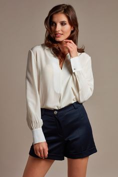 White elegant silk blouse and shorts