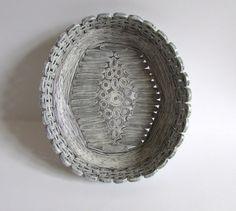 Recycled magazine bowls basket tray unikat white by fantasmaniaxx