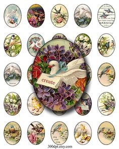 birds and flowers 3x4 cm 30x40 mm oval images Printable by 300dpi, $4.25