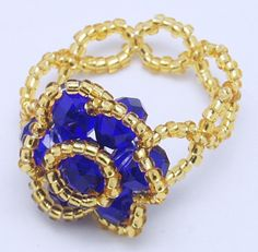 Glass Ring, with Seed Beads, Blue