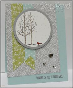 White Christmas, All is Calm, cardinal, trees, sketch challenge, Stampin' Up!, #stampinup, Connie Babbert, www.INKspiredtreasures.com