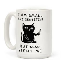 Show off your cute and sassy side with this adorable but fierce, cat with a knife coffee mug! Don't be ashamed of being little and sensitive! Be yourself but also it's a tough world out there so be ready to fight at all times. Cat Coffee Mug, Cat Mug, Funny Coffee Mugs, Coffee Humor, Funny Mugs, Coffee Cups, Coffee Time, Morning Coffee, Egg Coffee