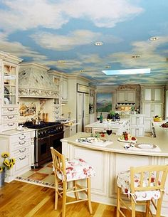 I like the idea of clouds on the ceiling, but it would be cool to have trees or foliage on the walls too. Like maybe in a hallway. Sky Ceiling, Ceiling Murals, Ceiling Design, Bedroom Murals, Bedroom Decor, Old World Kitchens, Exposed Brick Walls, Cherry Cabinets, Home Remodeling Diy