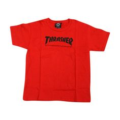 Thrasher T-SHIRTS ❤ liked on Polyvore featuring tops, t-shirts, tee-shirt, logo top, shirt top, red t shirt and logo t shirts